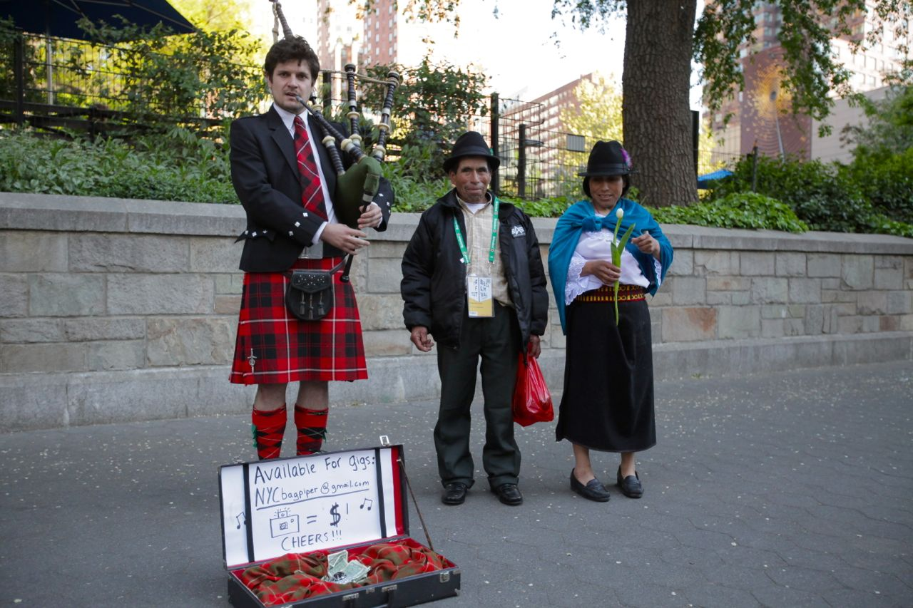 A bagpiper at Union Square