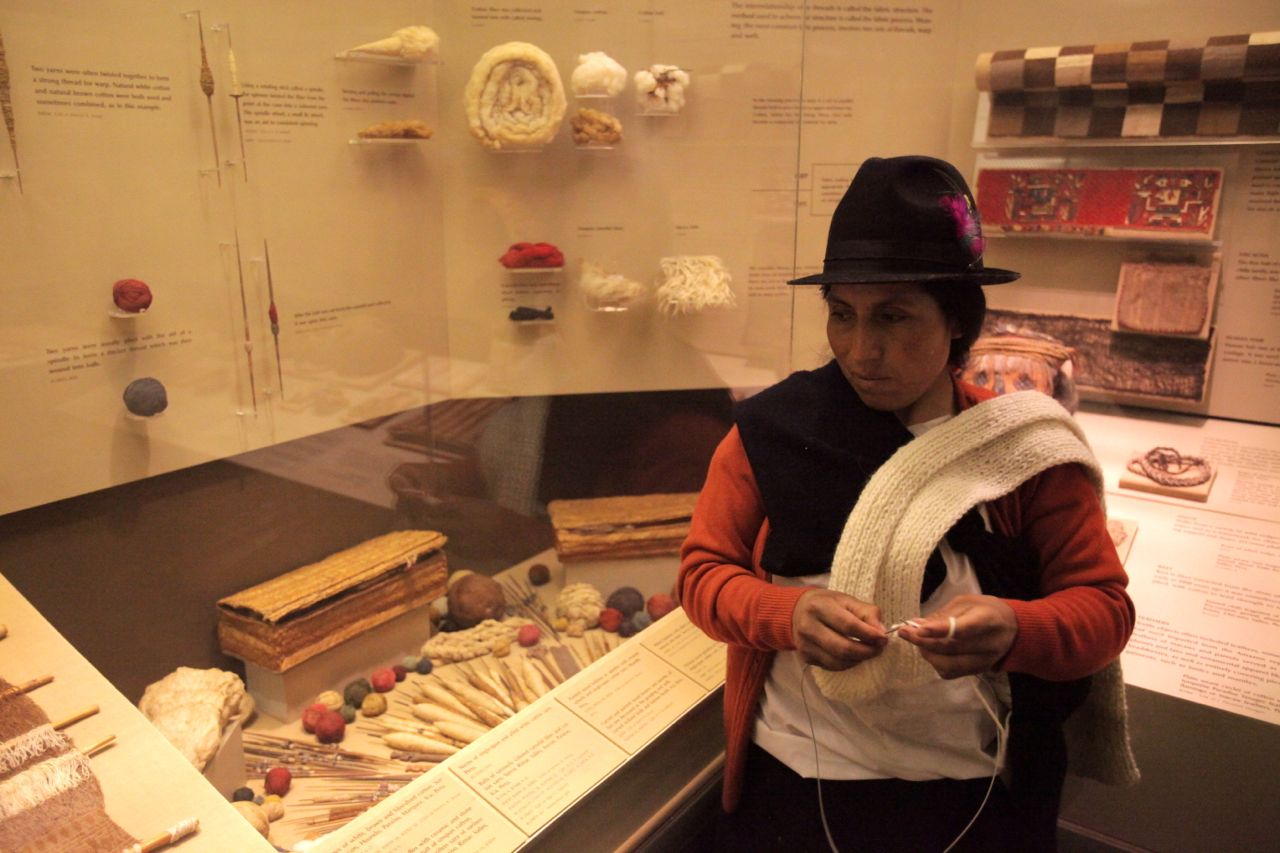 Carmen knitting in the Inca textiles section of the Natural History Museum