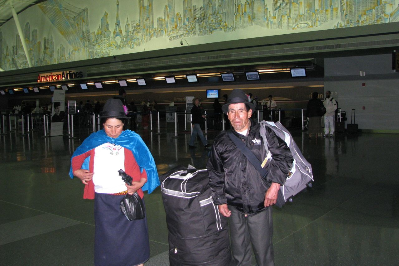 Baltazar and Carmen at JFK, ready to return to Ecuador