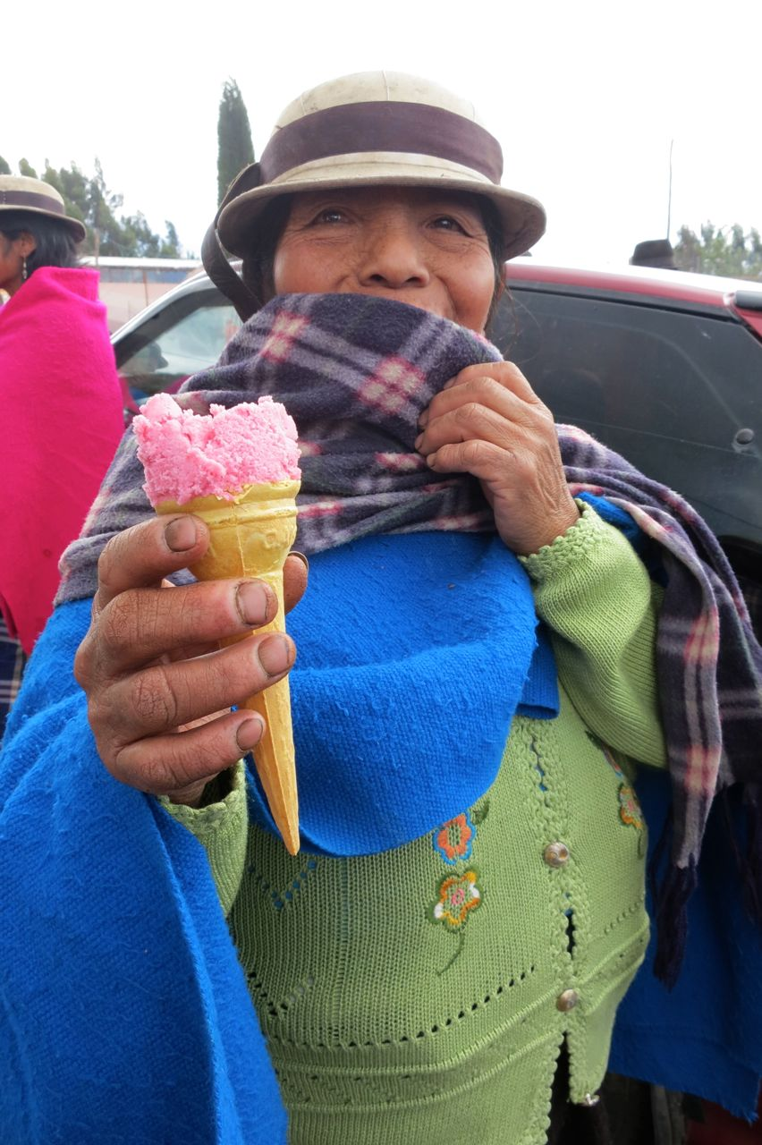 Enjoying the ice cream
