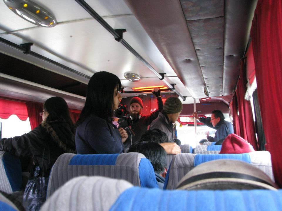 Shooting on the bus to Riobamba