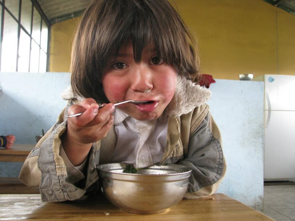 A young boy at the school cafeteria